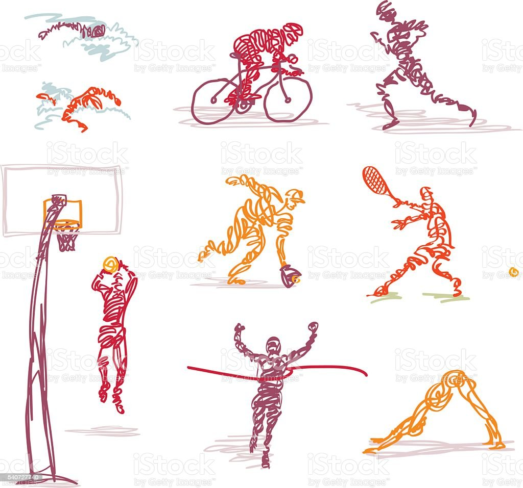 Scribbled Summer Games Events vector art illustration