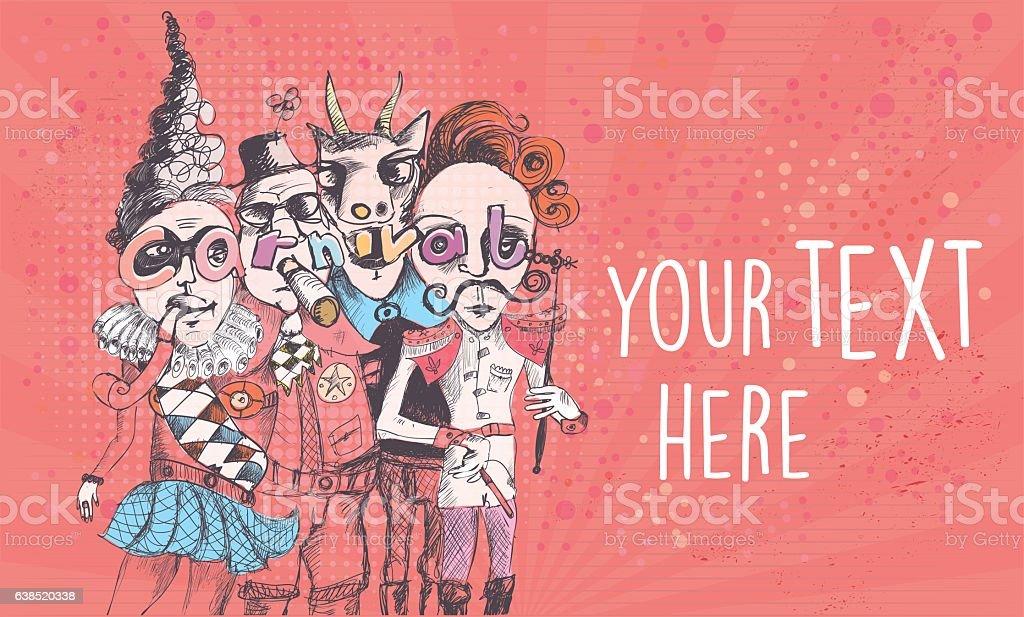 scribbled surreal carnival people on vintage background vector art illustration