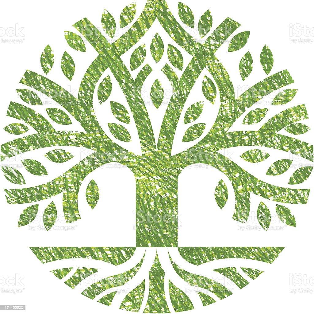Scribbled tree symbol vector art illustration