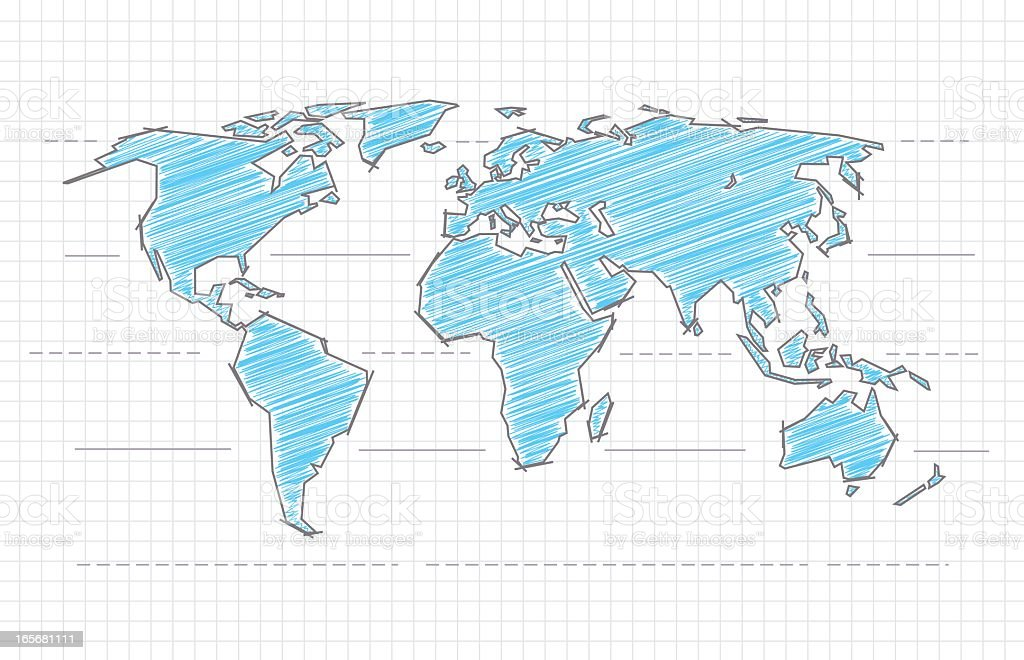 Scribbled world map royalty-free stock vector art