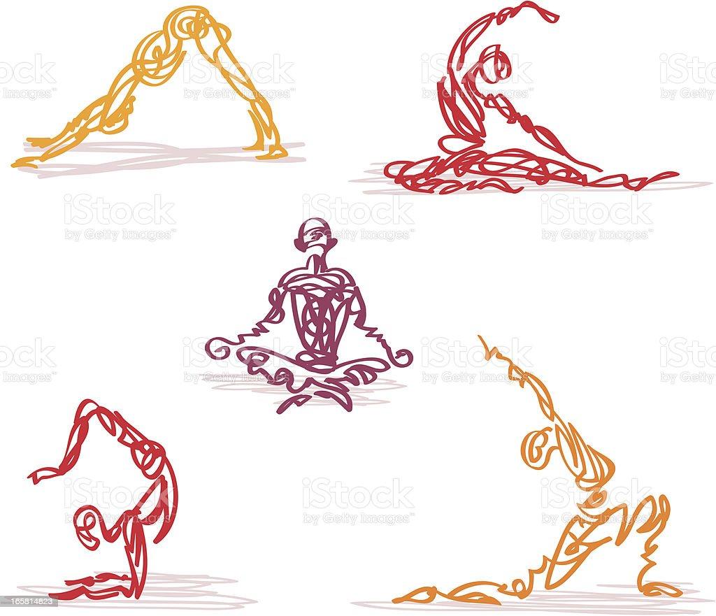 Scribbled Yoga vector art illustration