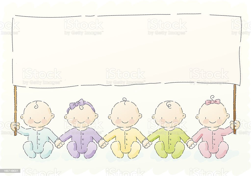 scribbles: babies with message vector art illustration