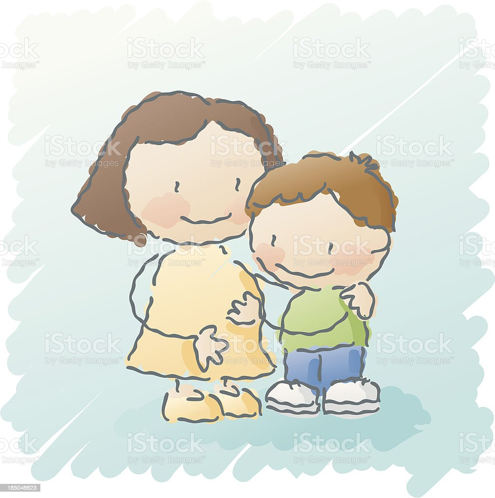 scribbles: baby brother vector art illustration