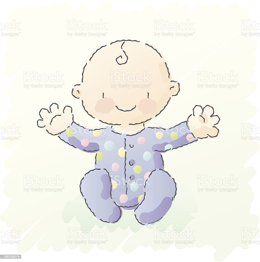 scribbles: baby in pajamas royalty-free stock vector art