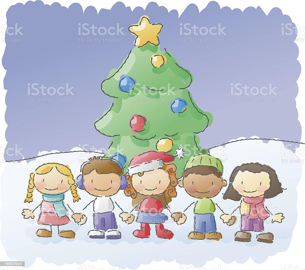 scribbles: christmas kids royalty-free stock vector art