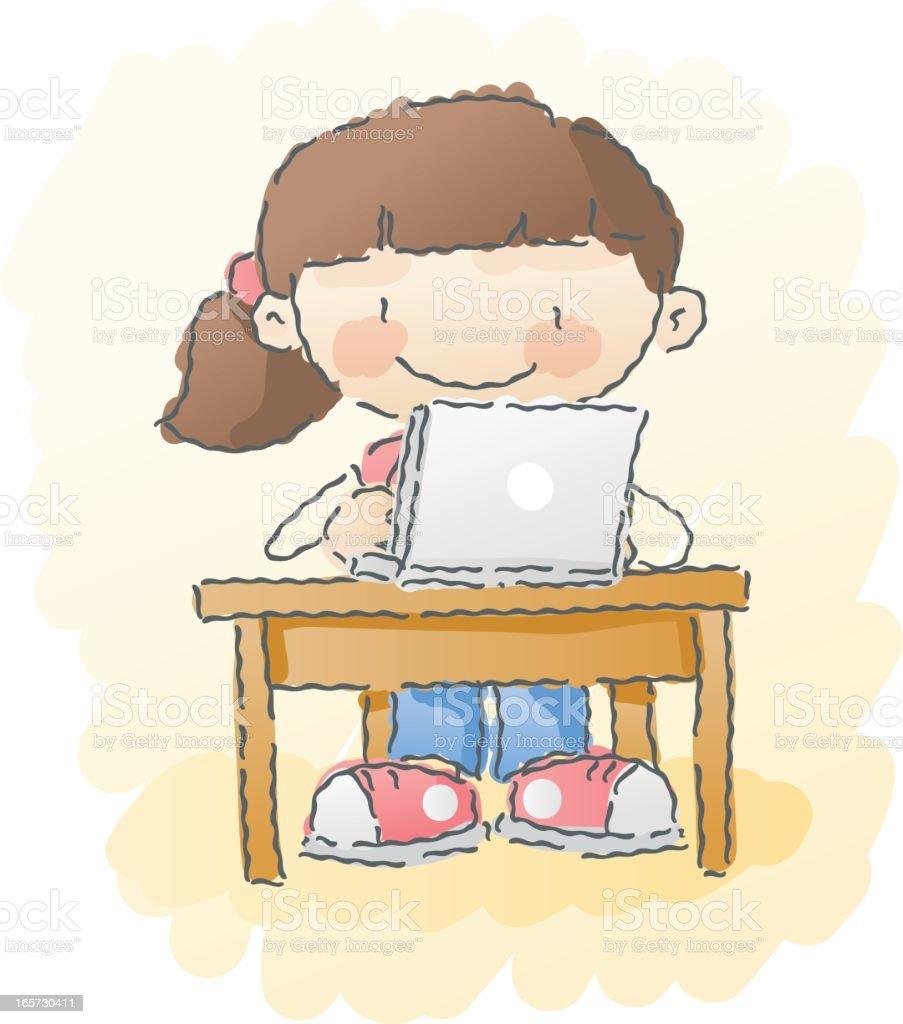 scribbles: computer girl royalty-free stock vector art