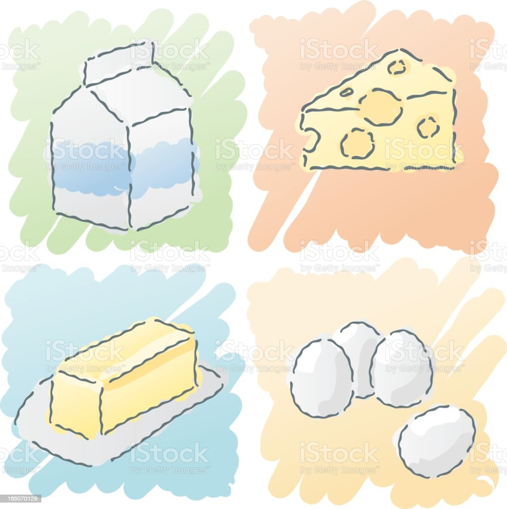 scribbles: dairy food royalty-free stock vector art