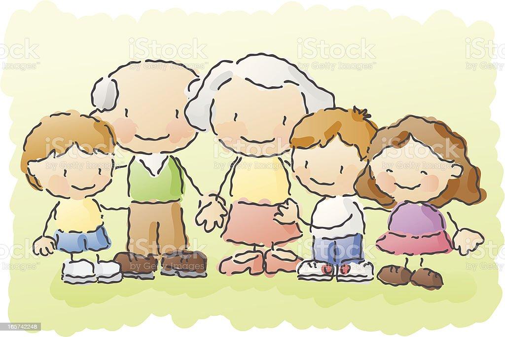 scribbles: grandparents vector art illustration