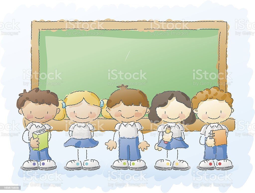 scribbles: kids with uniforms royalty-free stock vector art