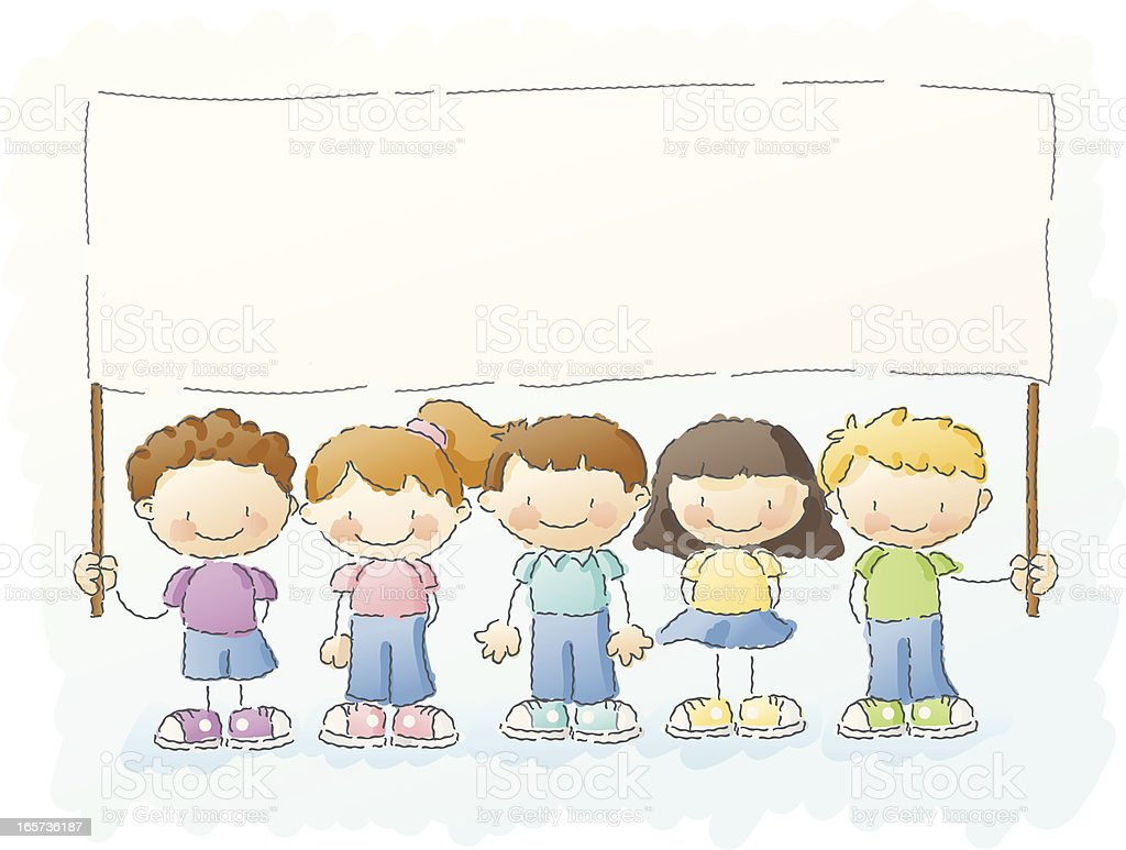 scribbles: schoolkids with banner royalty-free stock vector art