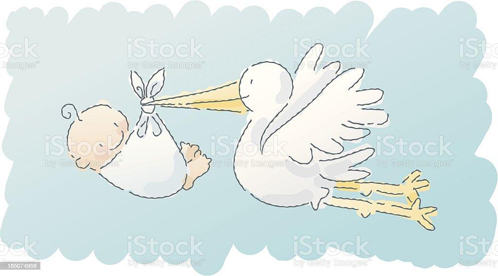 scribbles: stork vector art illustration