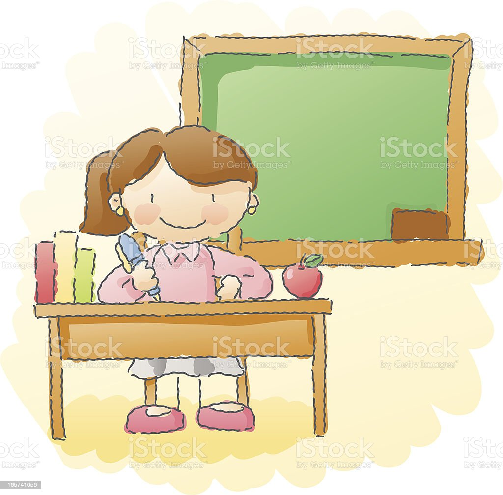 scribbles: teacher's desk royalty-free stock vector art