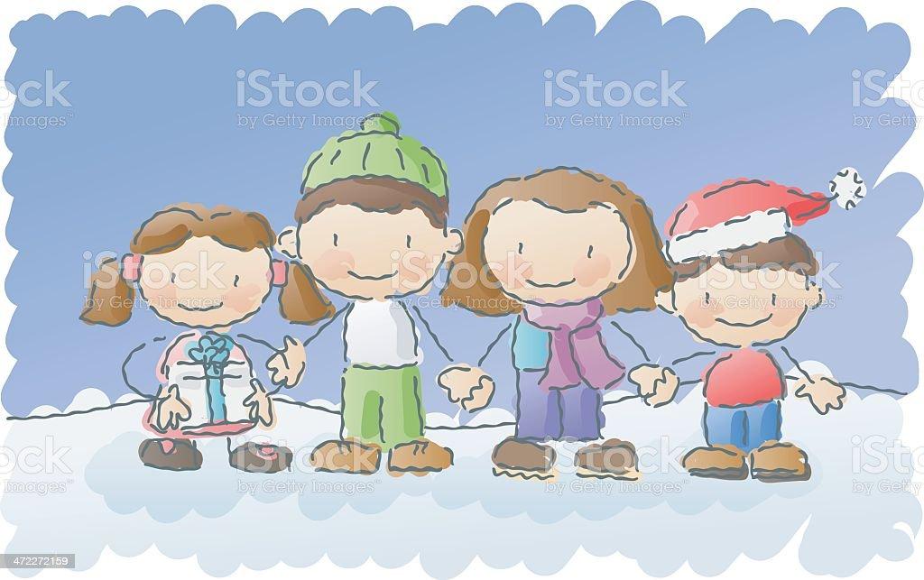 scribbles: winter family royalty-free stock vector art