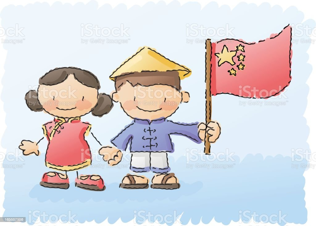 scribbles: world kids - china royalty-free stock vector art