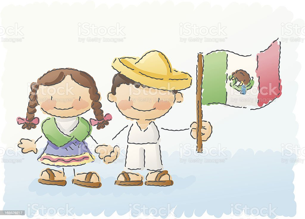 scribbles: world kids - mexico royalty-free stock vector art