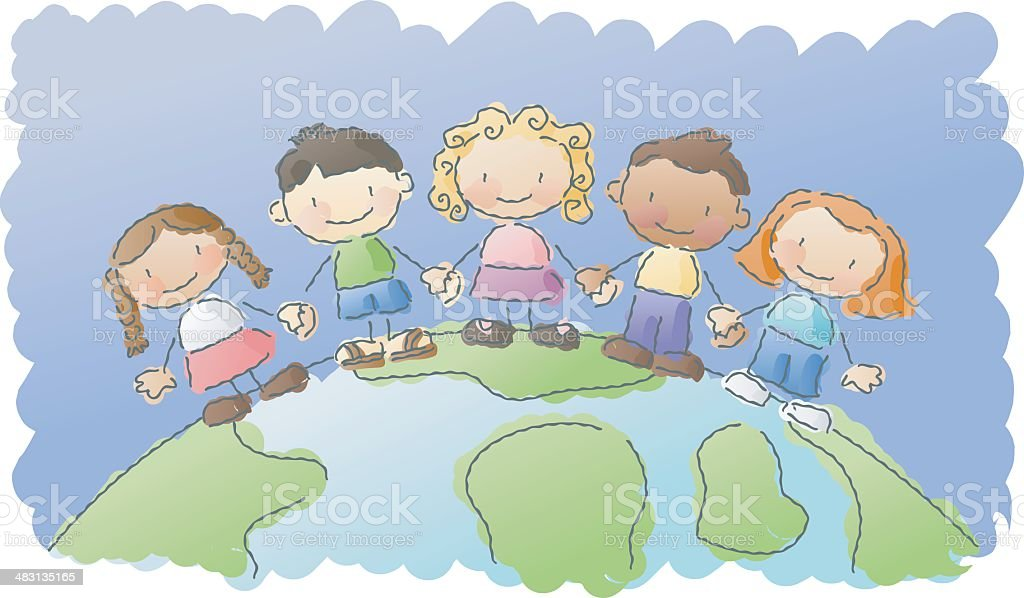 scribbles: world kids vector art illustration