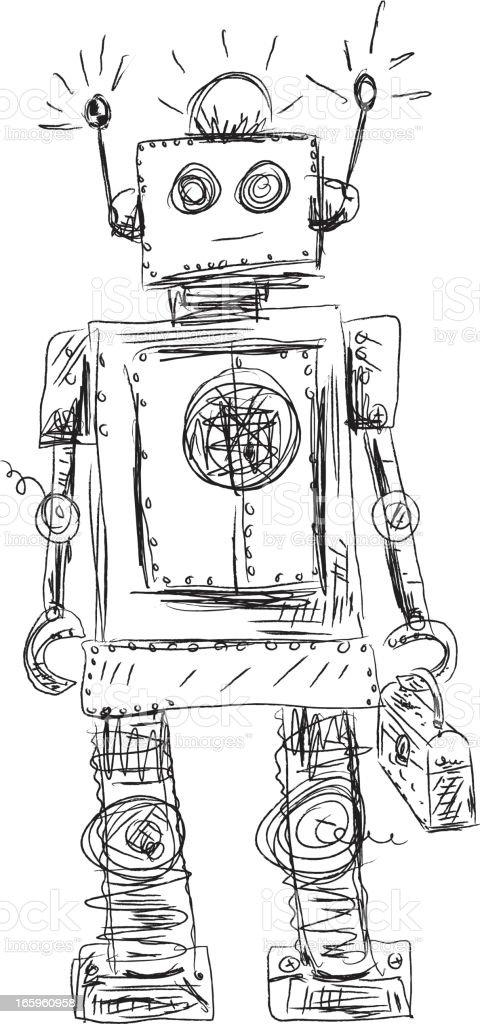 Scribbly Sketchy Doodled Robot vector art illustration