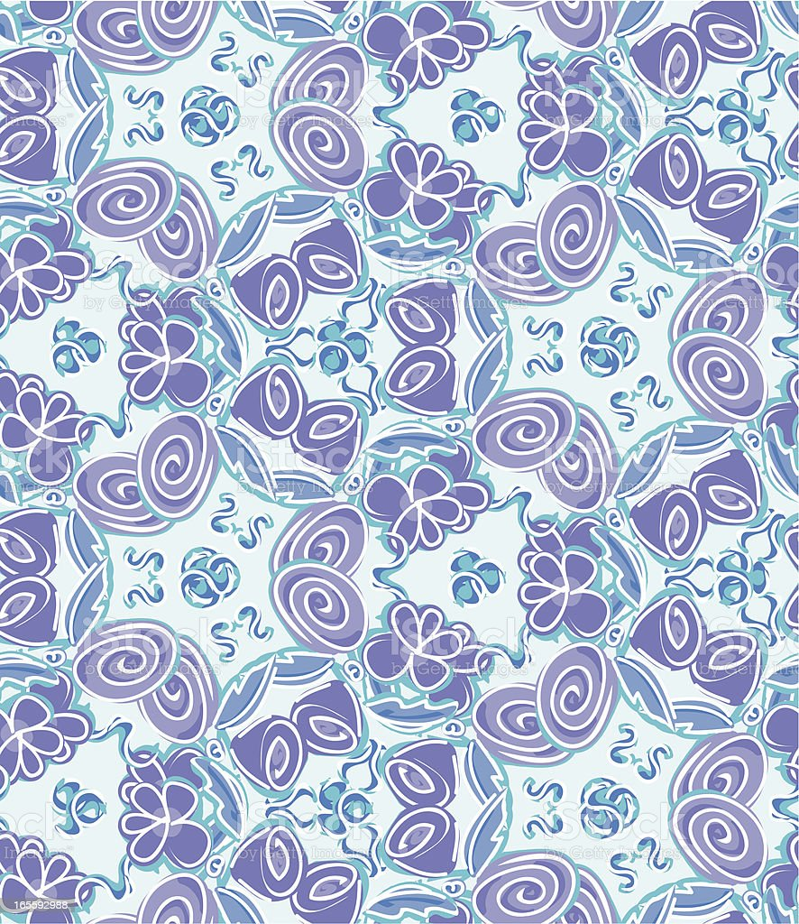 Scribbly Swirly Blue and Purple Floral Pattern royalty-free stock vector art