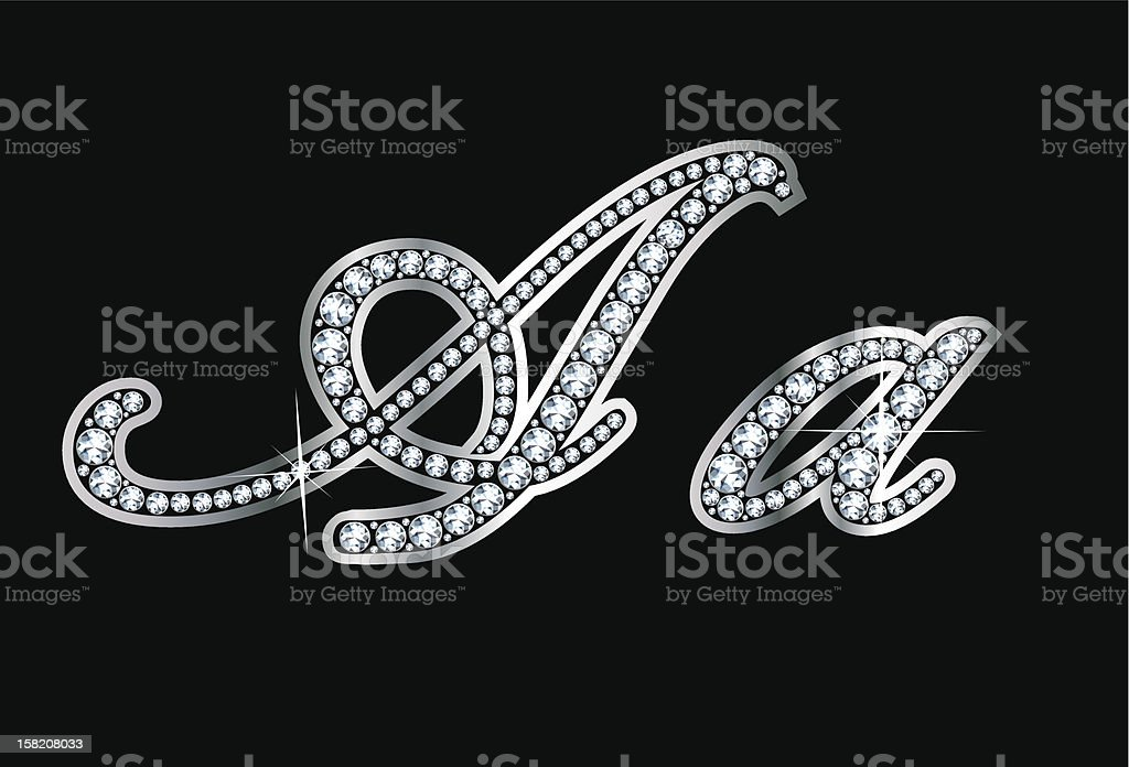 Script Diamond Bling Aa Letters stock photo