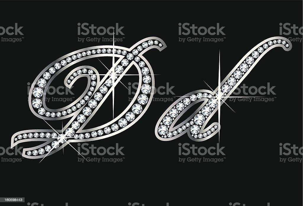 Script Diamond Bling Dd Letters vector art illustration