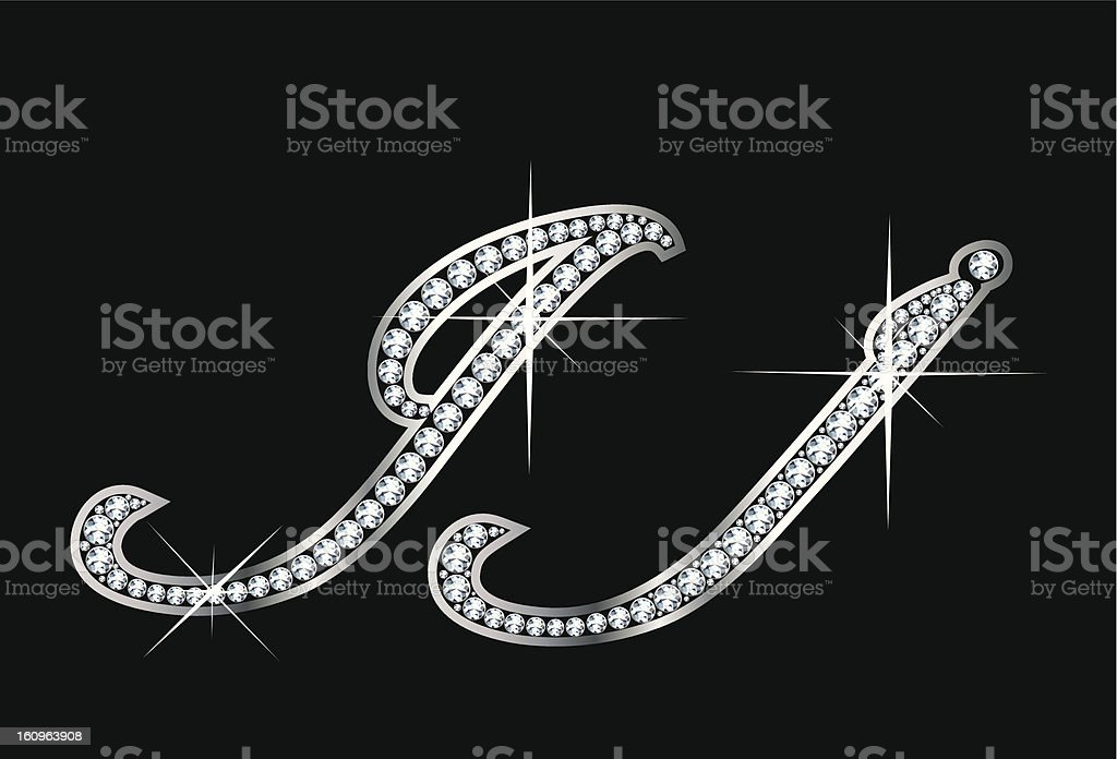 Script Diamond Bling Jj Letters royalty-free stock photo
