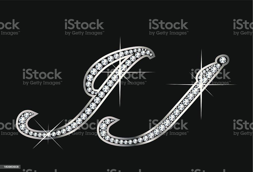 Script Diamond Bling Jj Letters royalty-free stock vector art