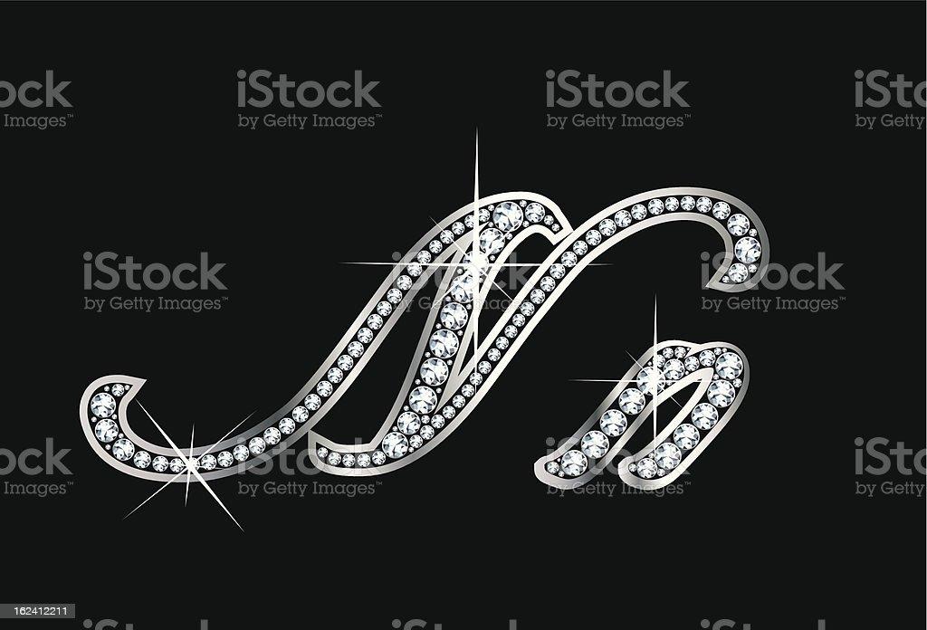 Script Diamond Bling Nn Letters royalty-free stock vector art