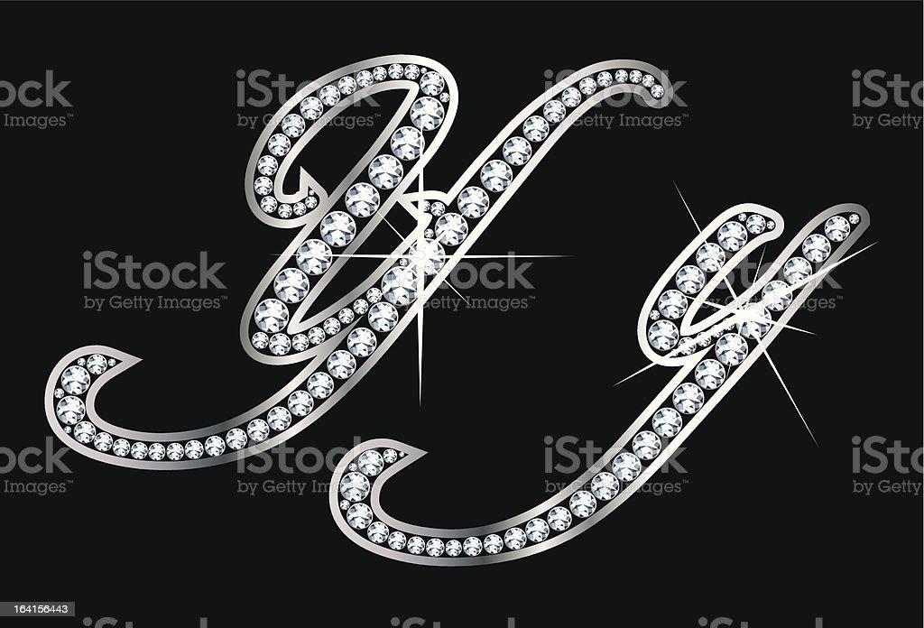 Script Diamond Bling Yy Letters royalty-free stock vector art