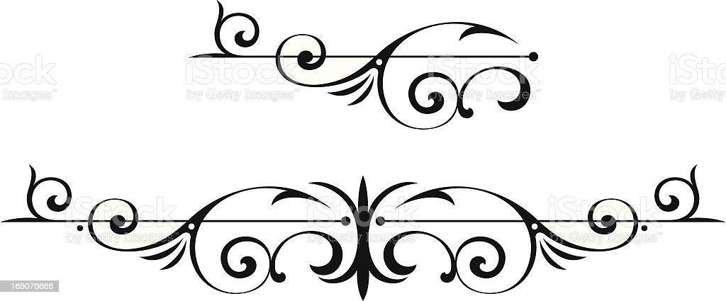 scroll and centre design vector art illustration
