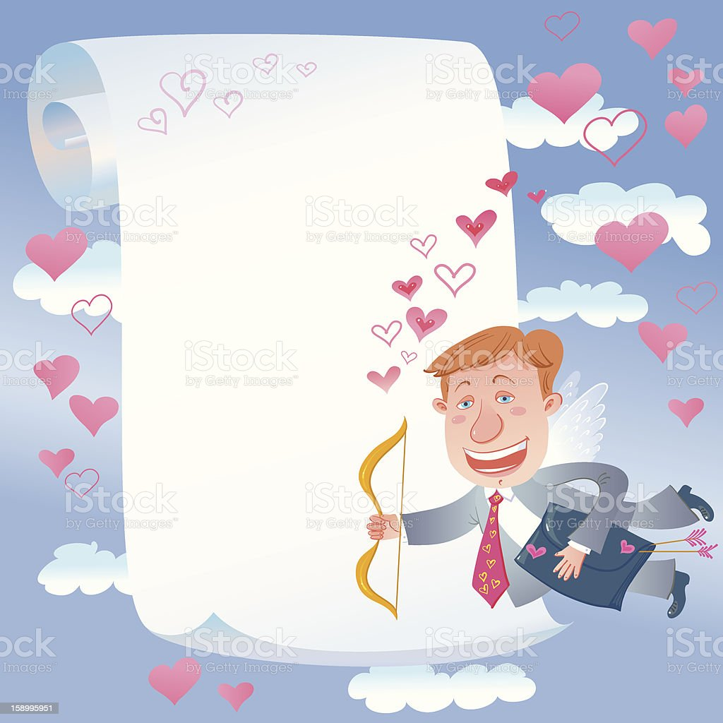 Scroll And Cupid Businessman. royalty-free stock vector art