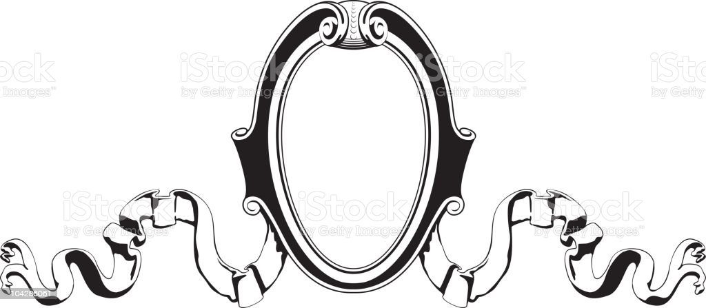 Scroll and oval emblem royalty-free stock vector art