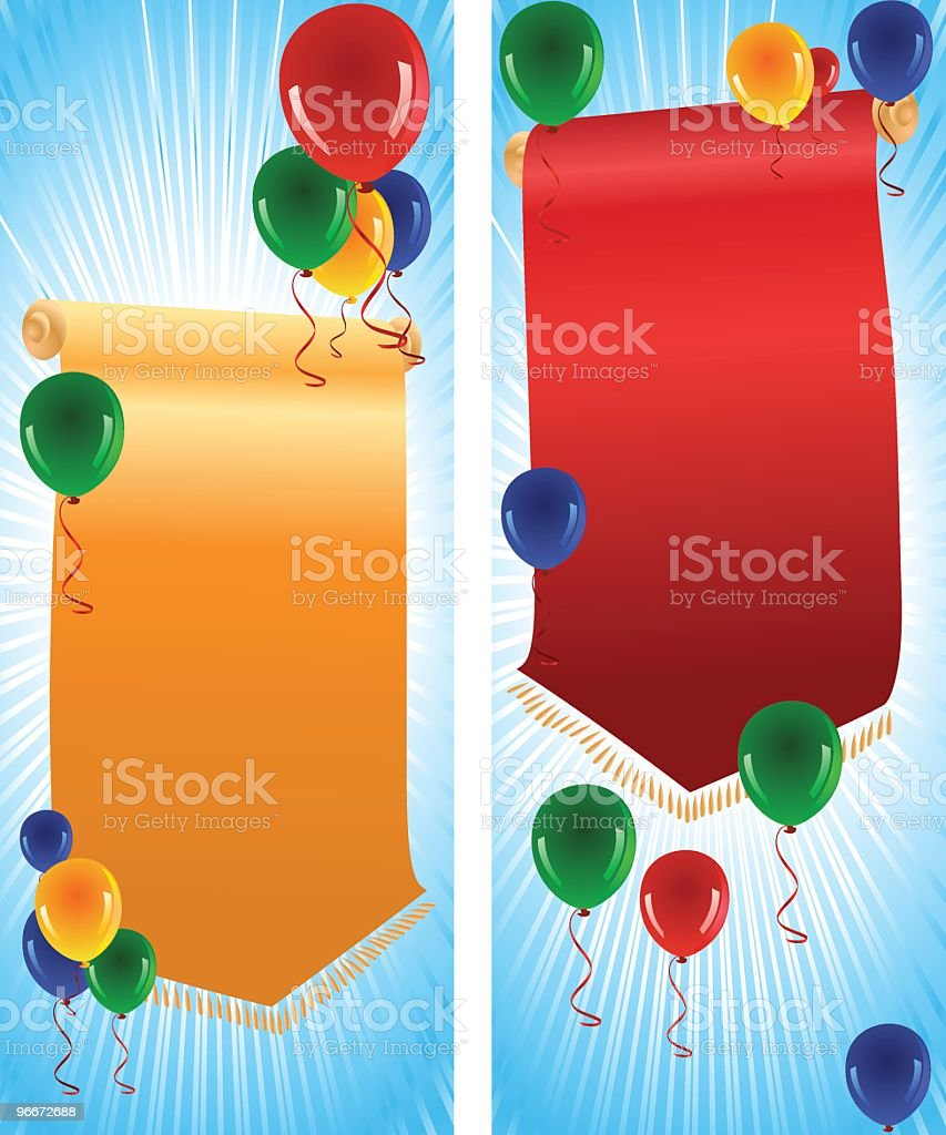 Scroll Banners with Balloons royalty-free stock vector art