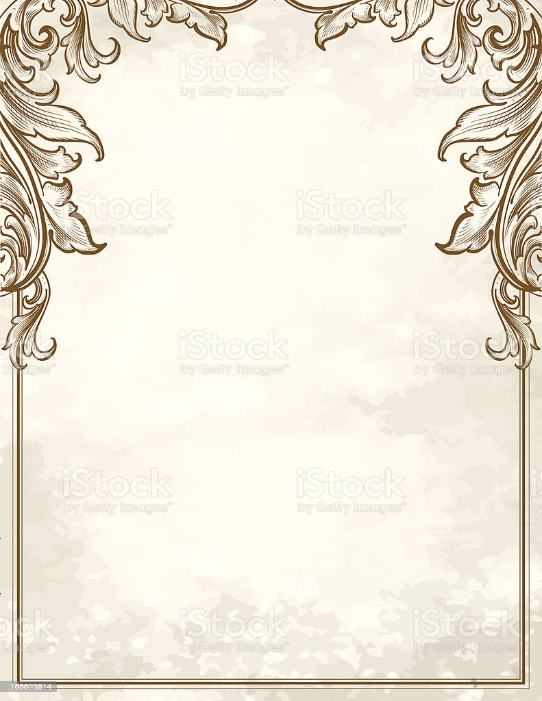 Scroll Corners Stationery engraving scrollwork royalty-free stock vector art
