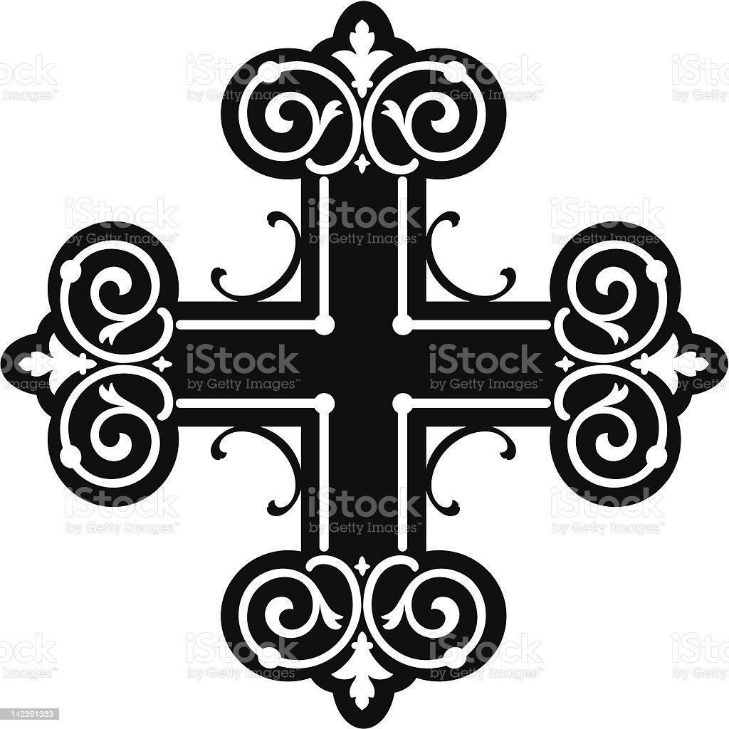 scroll cross (vector) vector art illustration