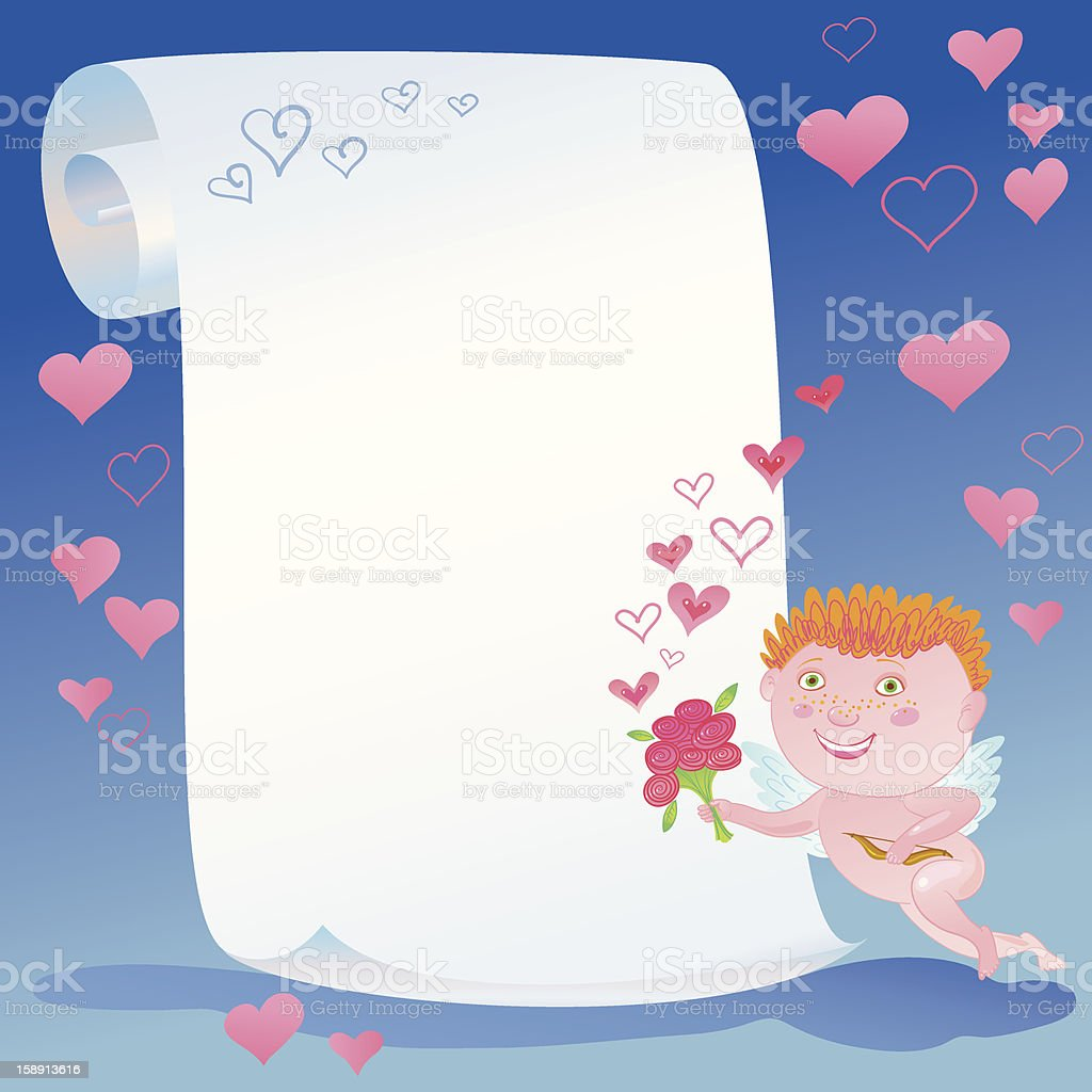 Scroll, Cupid And Bunch Of Flowers. royalty-free stock vector art