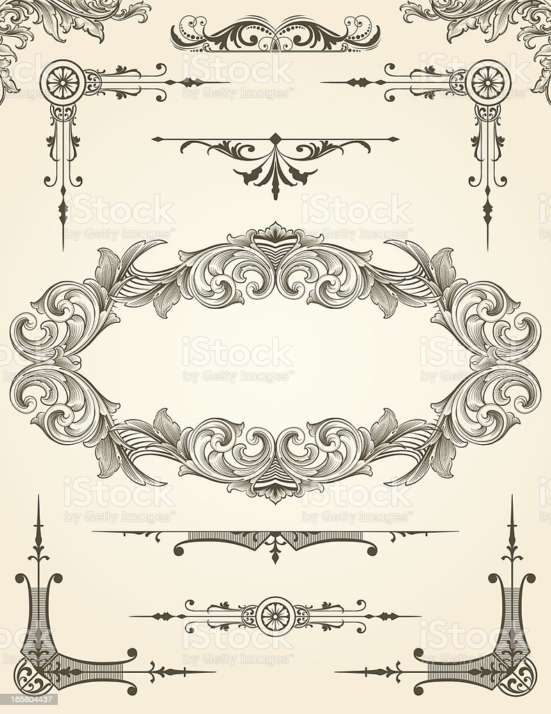 Scroll Design Element Set for pages royalty-free stock vector art
