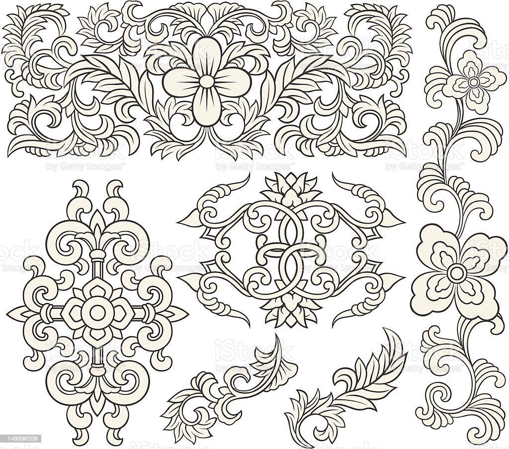 Motivo floreale a spirale illustrazione royalty-free