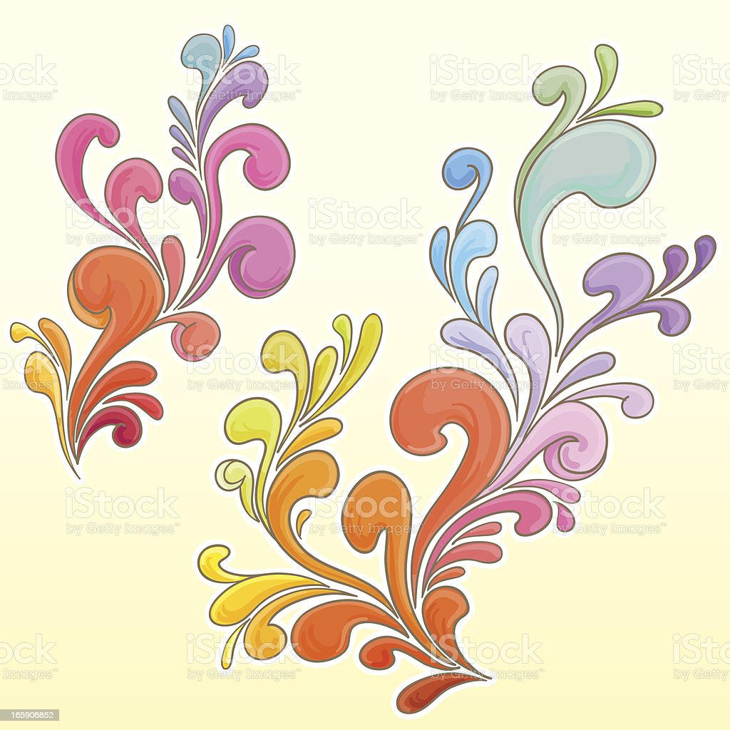 Scroll in colour sketch style vector art illustration