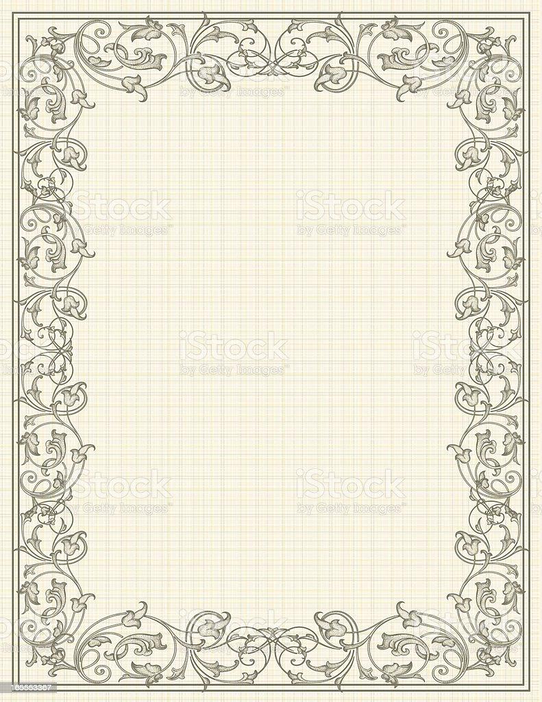 Scroll Linen Frame vector art illustration
