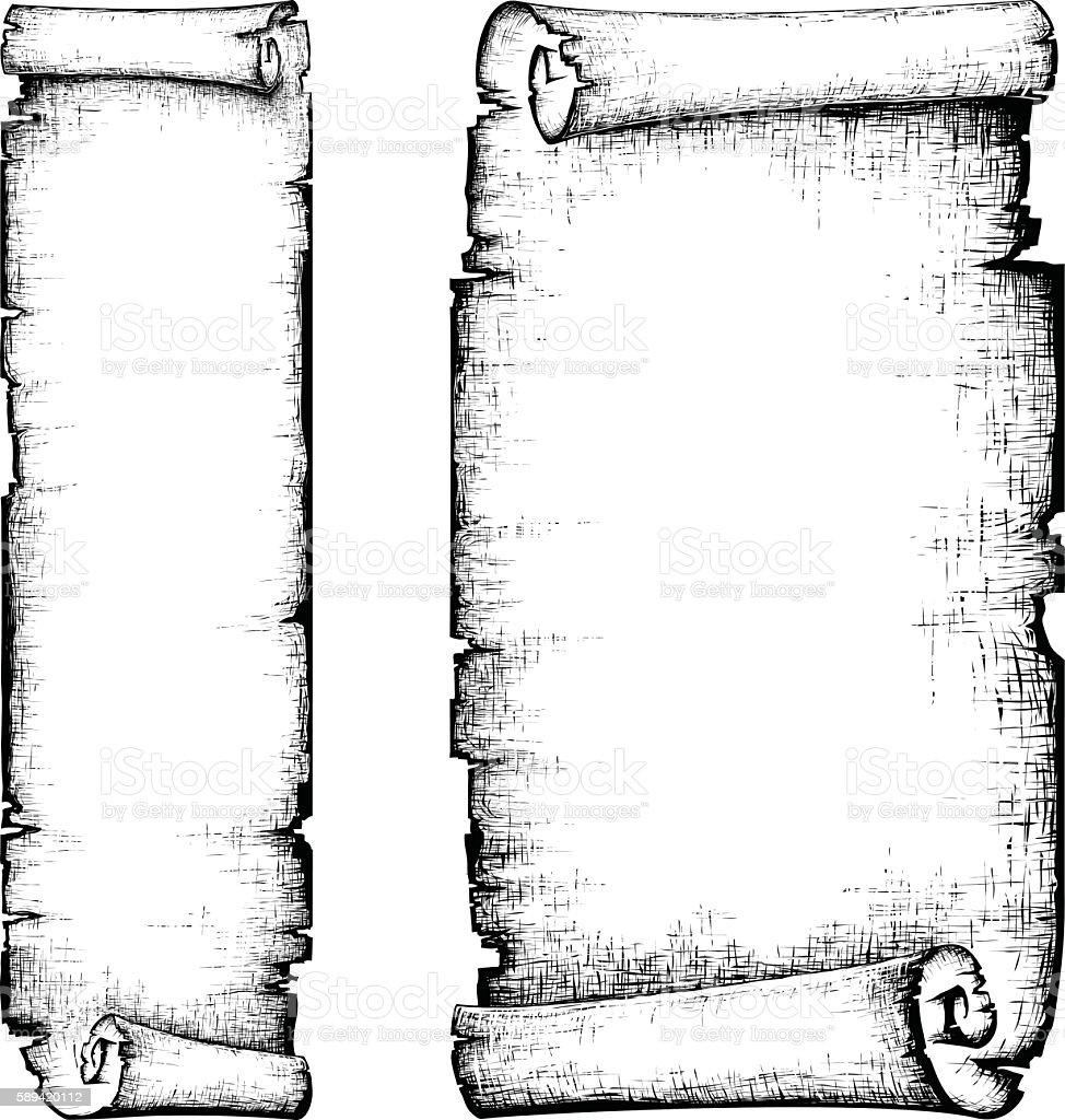 scroll paper banner vector art illustration
