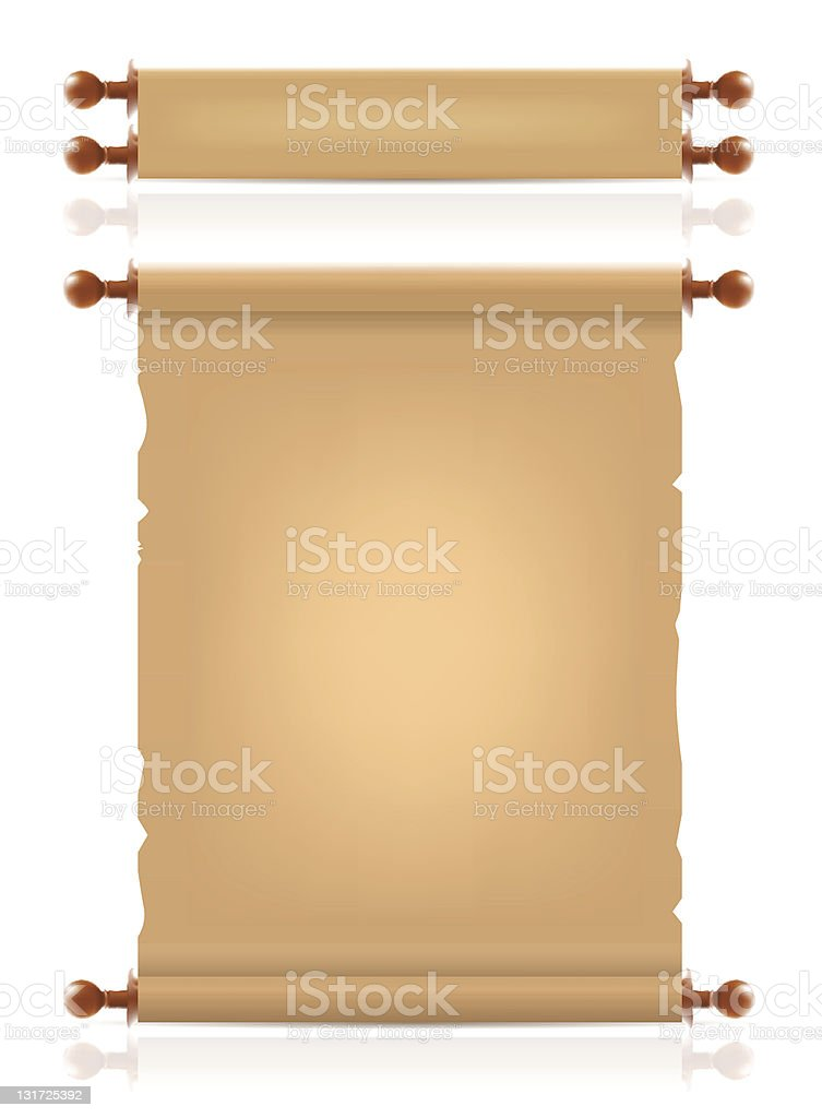A scroll shown rolled up and also rolled out vector art illustration