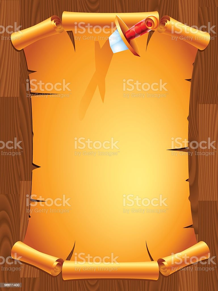 scroll with a dagger royalty-free stock vector art