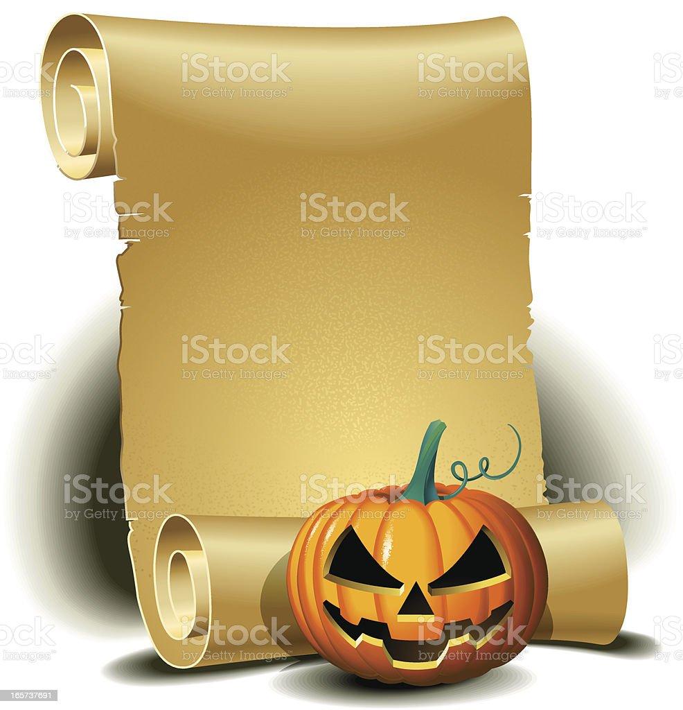 Scroll with Halloween pumpkin royalty-free stock vector art