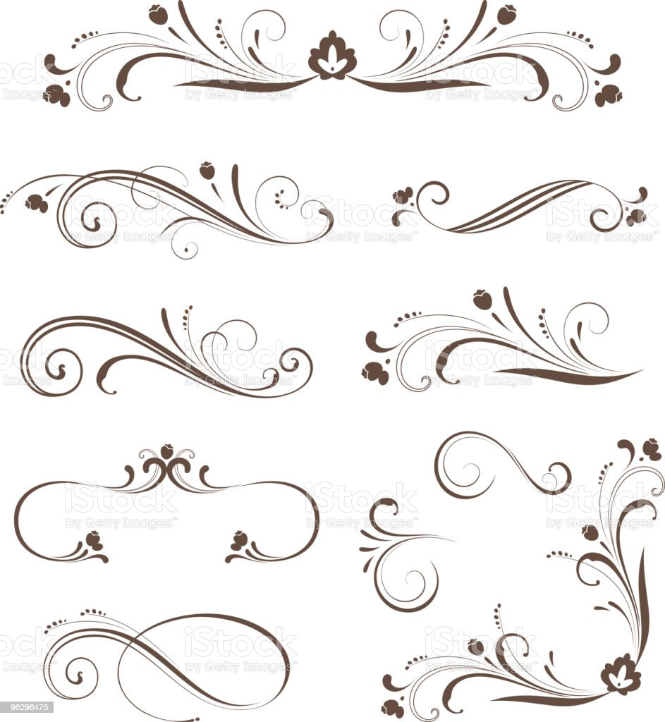 scroll_set_floral vector art illustration