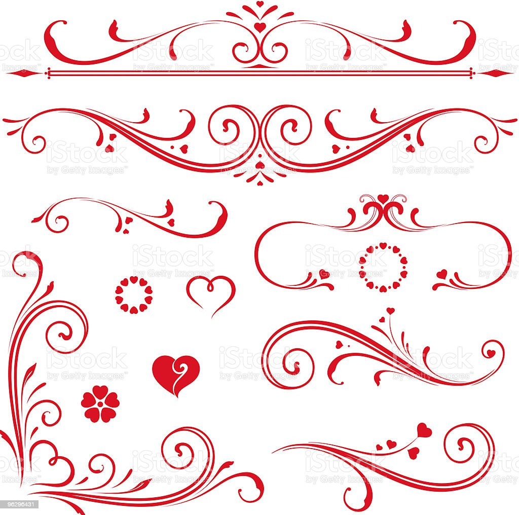 scroll_set_hearts royalty-free stock vector art