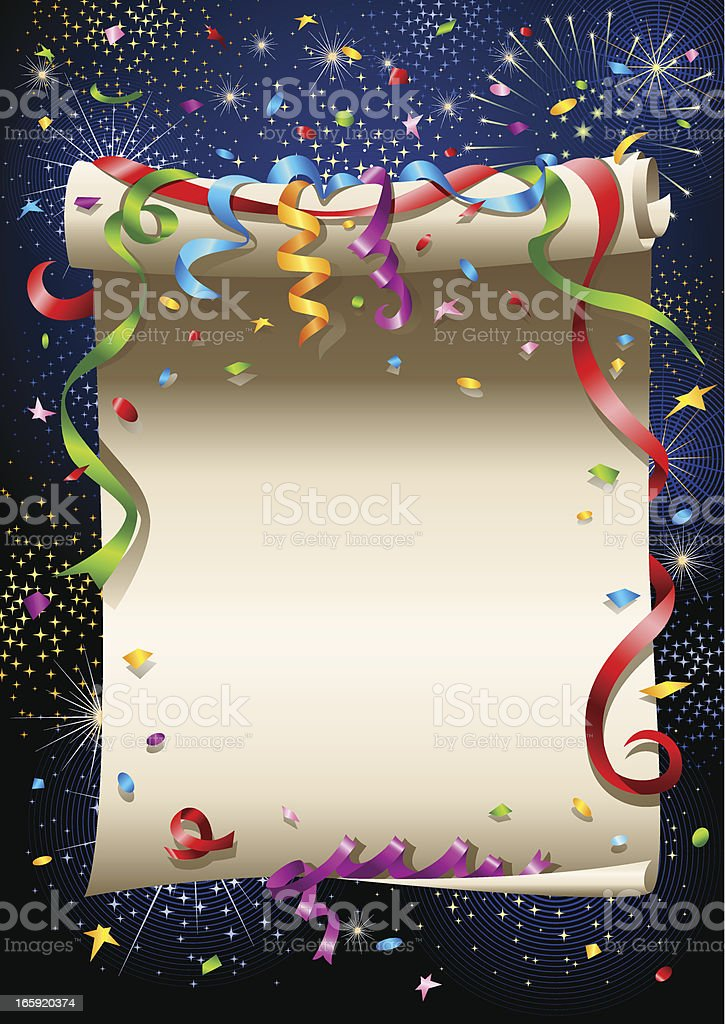 Scrolled paper - celebration royalty-free stock vector art