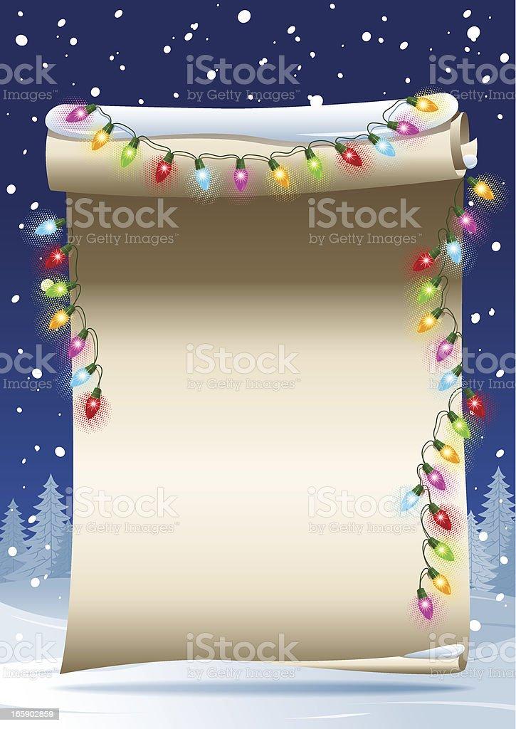 Scrolled paper - Christmas lights vector art illustration