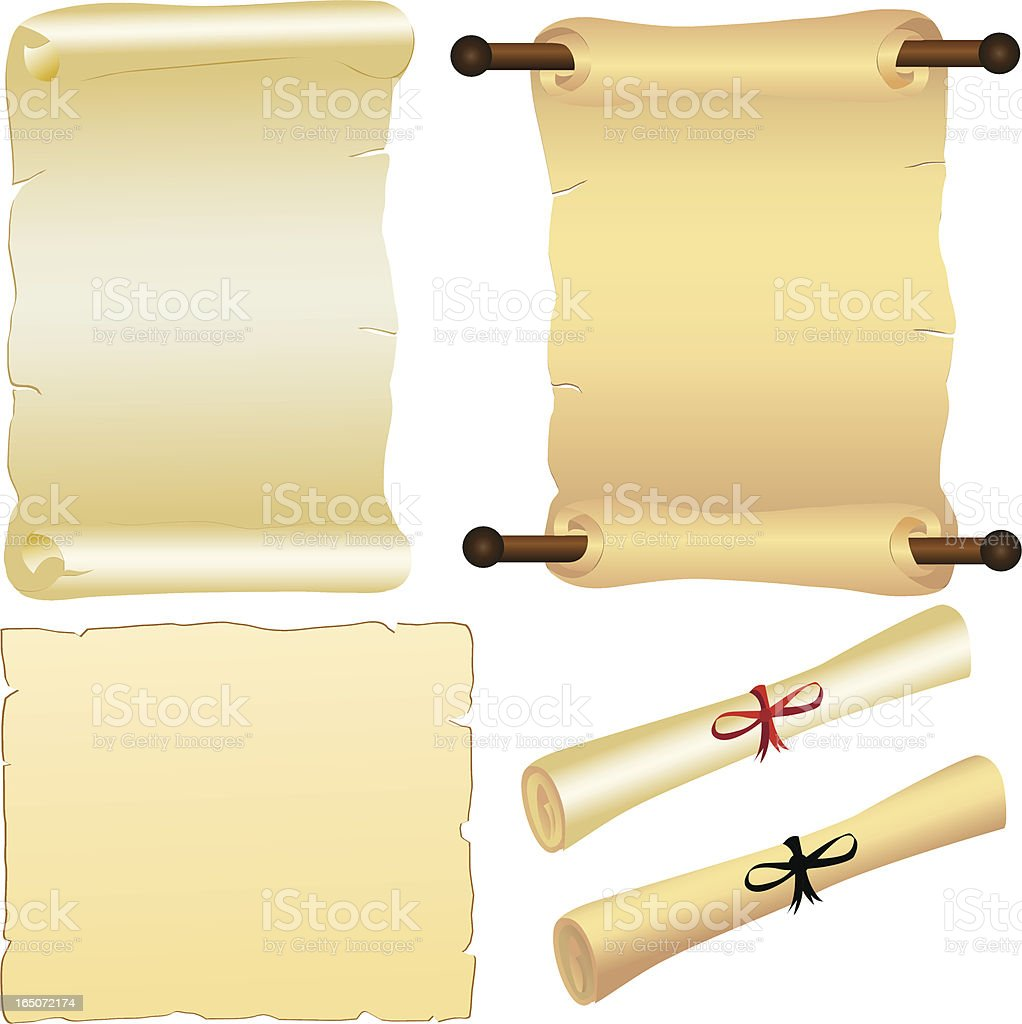 Scrolls and Parchment vector art illustration