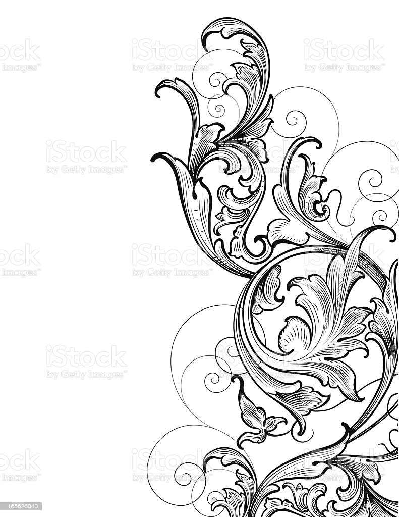 Scrollwork Corner Cluster hand engraving swirls royalty-free stock vector art