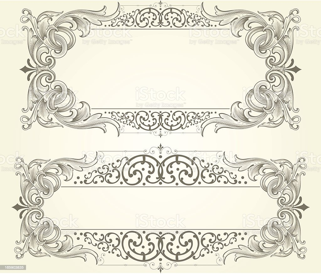 Scrollwork Engraved Vector Frames vector art illustration